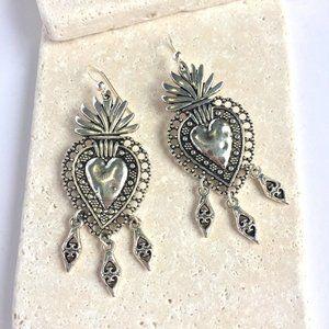 Silver Sacred heart w/ 3 dangles Earrings